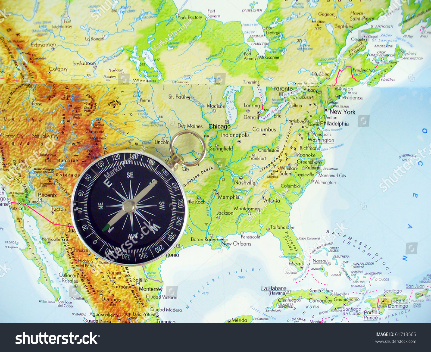 Compass On Map USA Stock Photo (Edit Now) 61713565 - Shutterstock