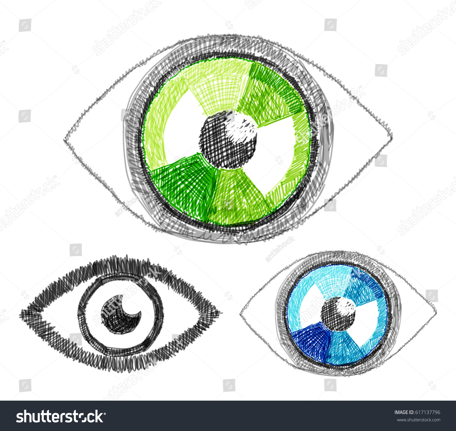 Set vector handdrawn human eye sight stock vector 617137796 set of vector hand drawn human eye sight concept hatch sketch doodles style ccuart Gallery