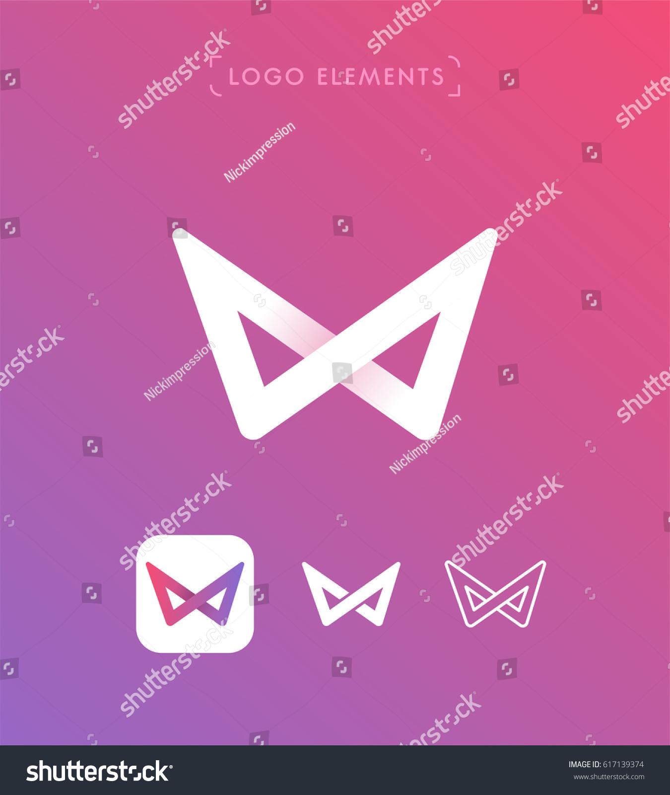 Vector infinity origami logo design template set. App icon