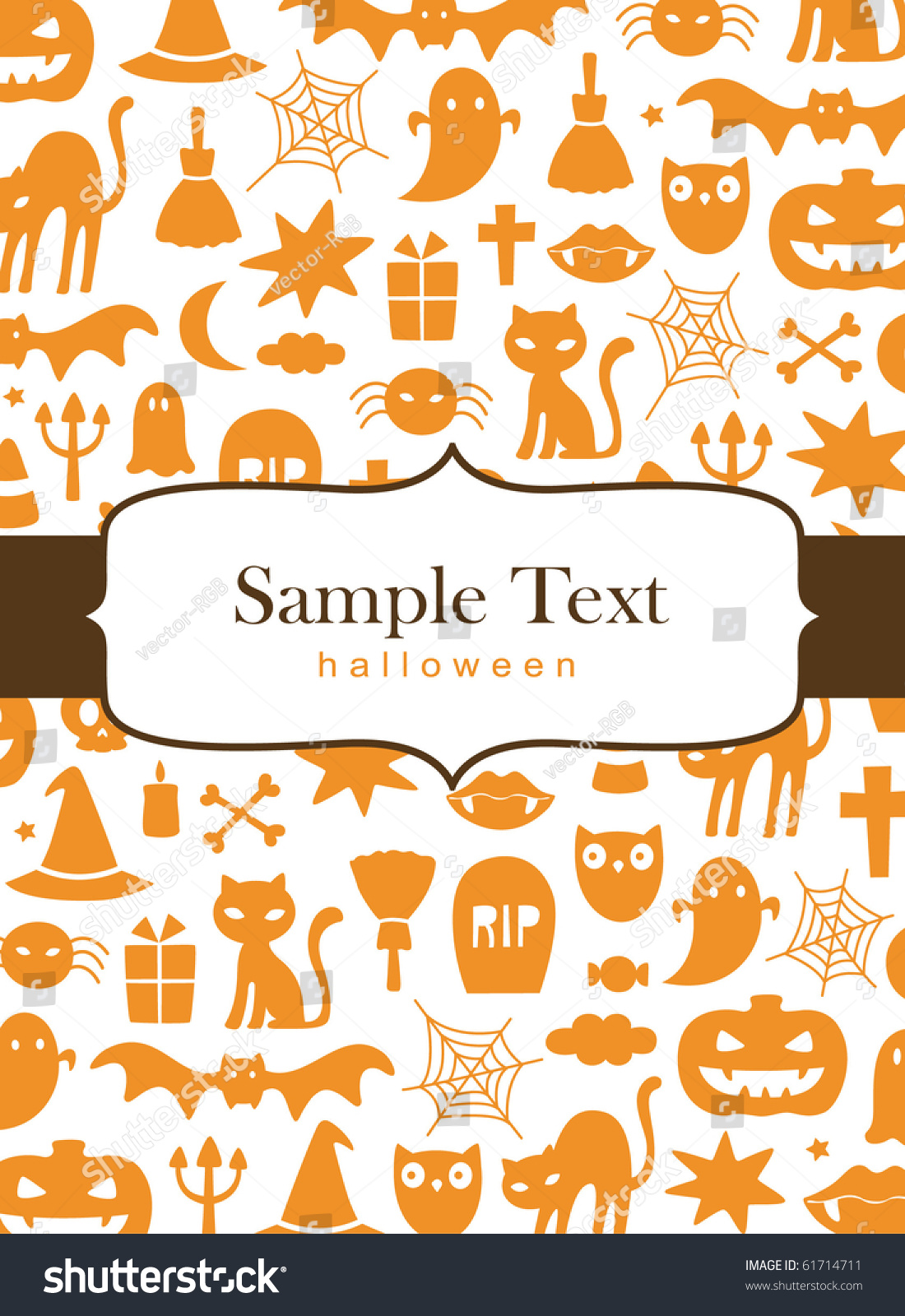 Cute Halloween Background Stock Vector 61714711 - Shutterstock
