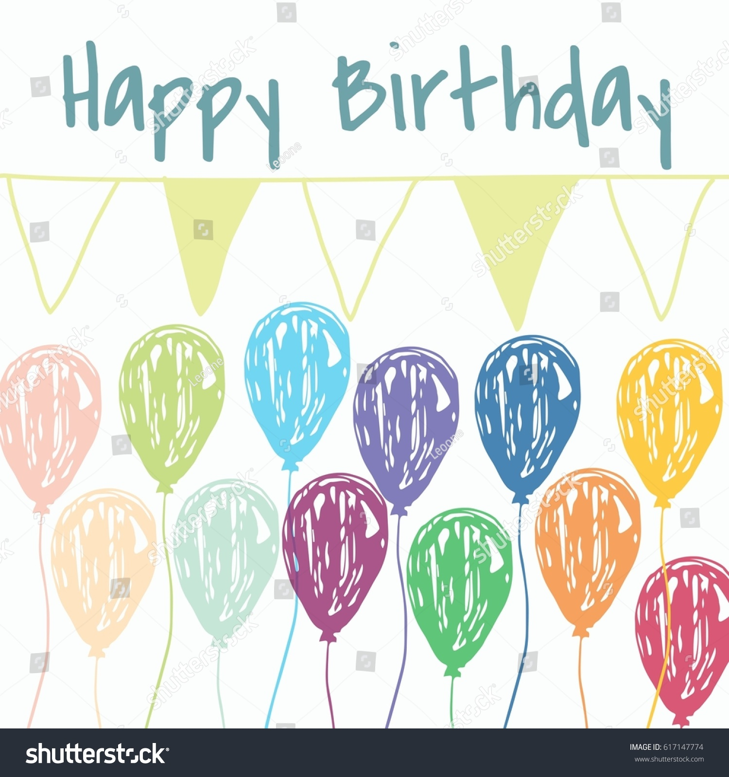 Fashionable Birthday Card Birthday Message Stock Illustration
