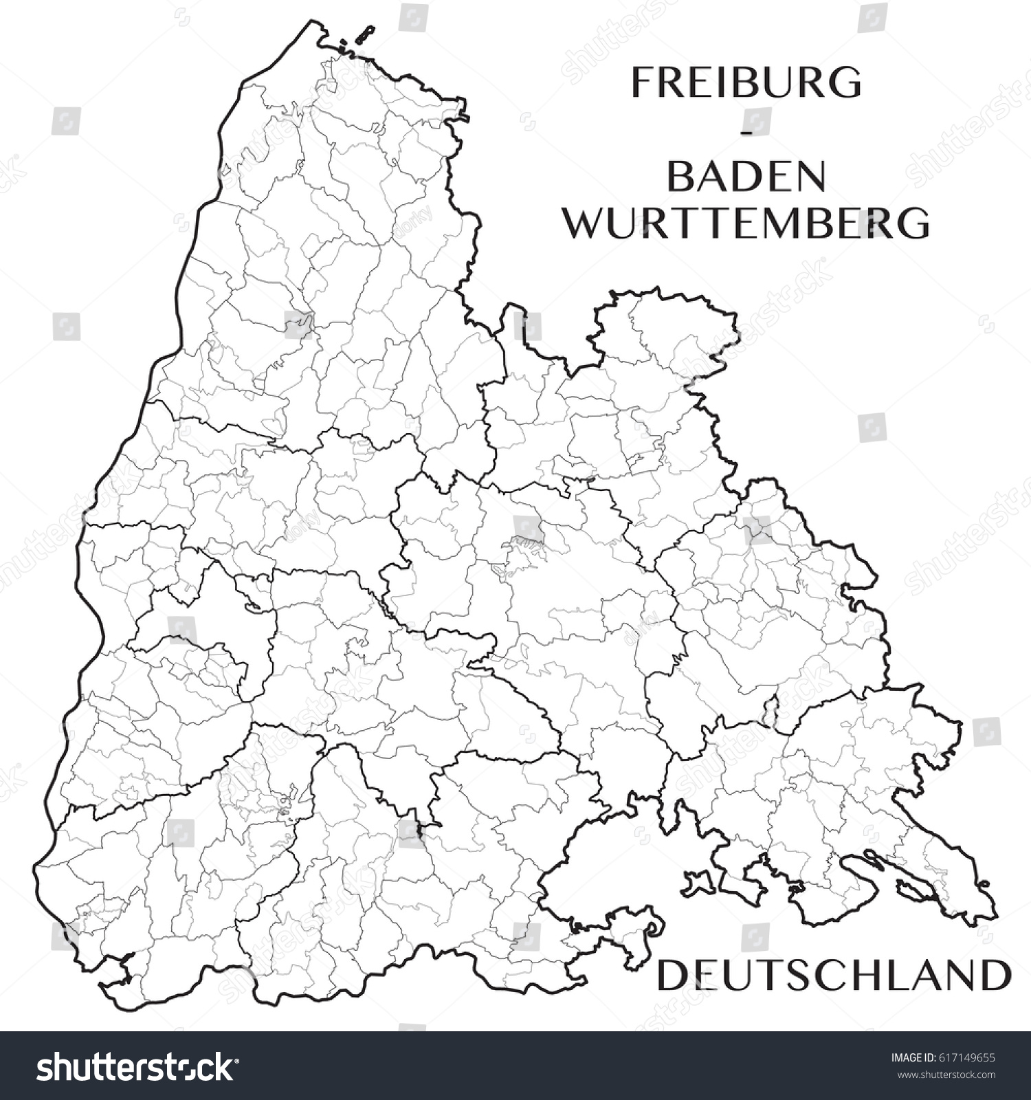 Detailed Map District Freiburg Badenwurttemberg Germany Stock Vector