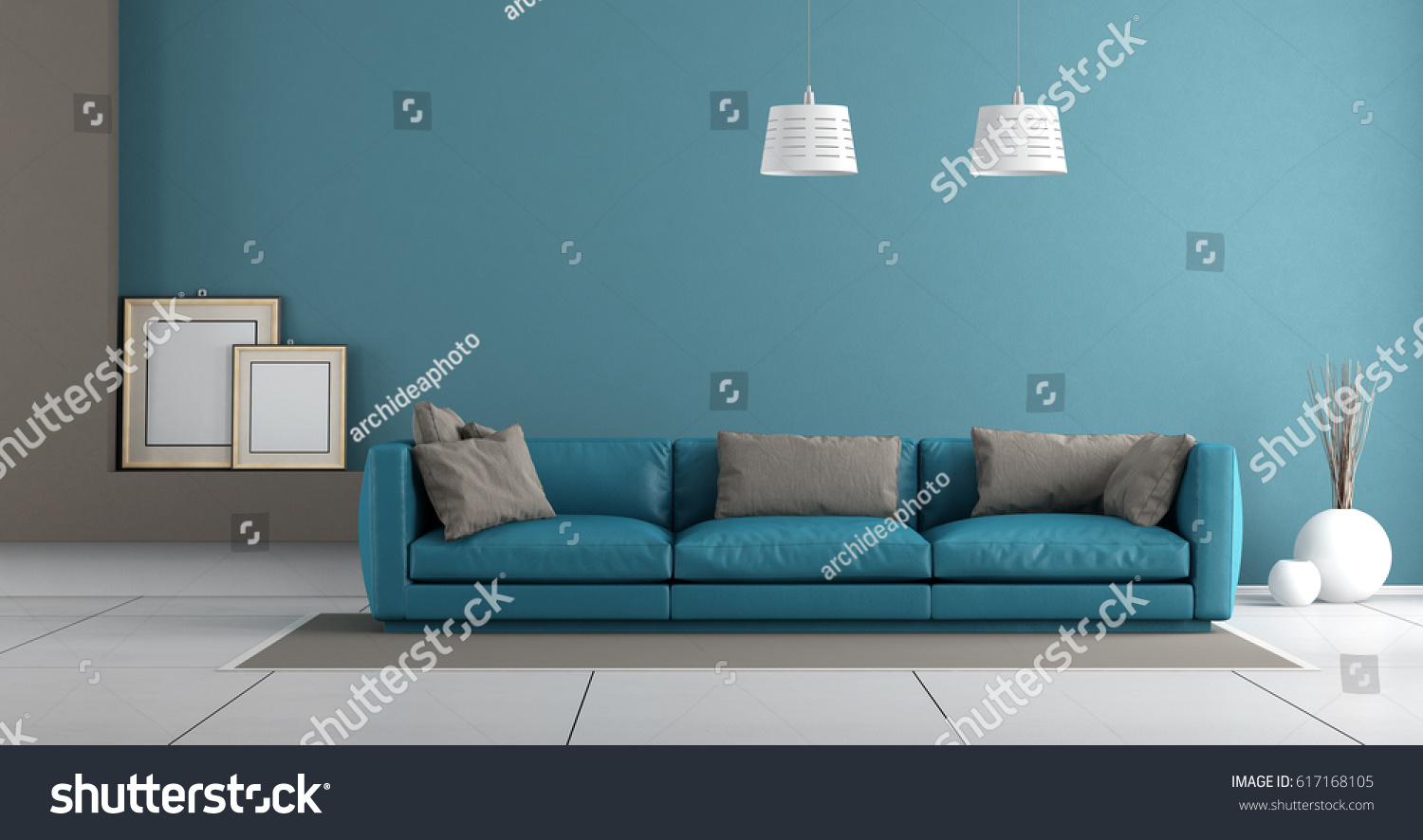 Blue Modern Living Room With Leather Sofa Pillow