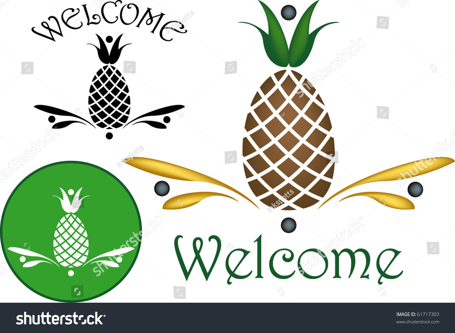 Pineapple Widely Recognized Symbol Hospitality Stock Illustration