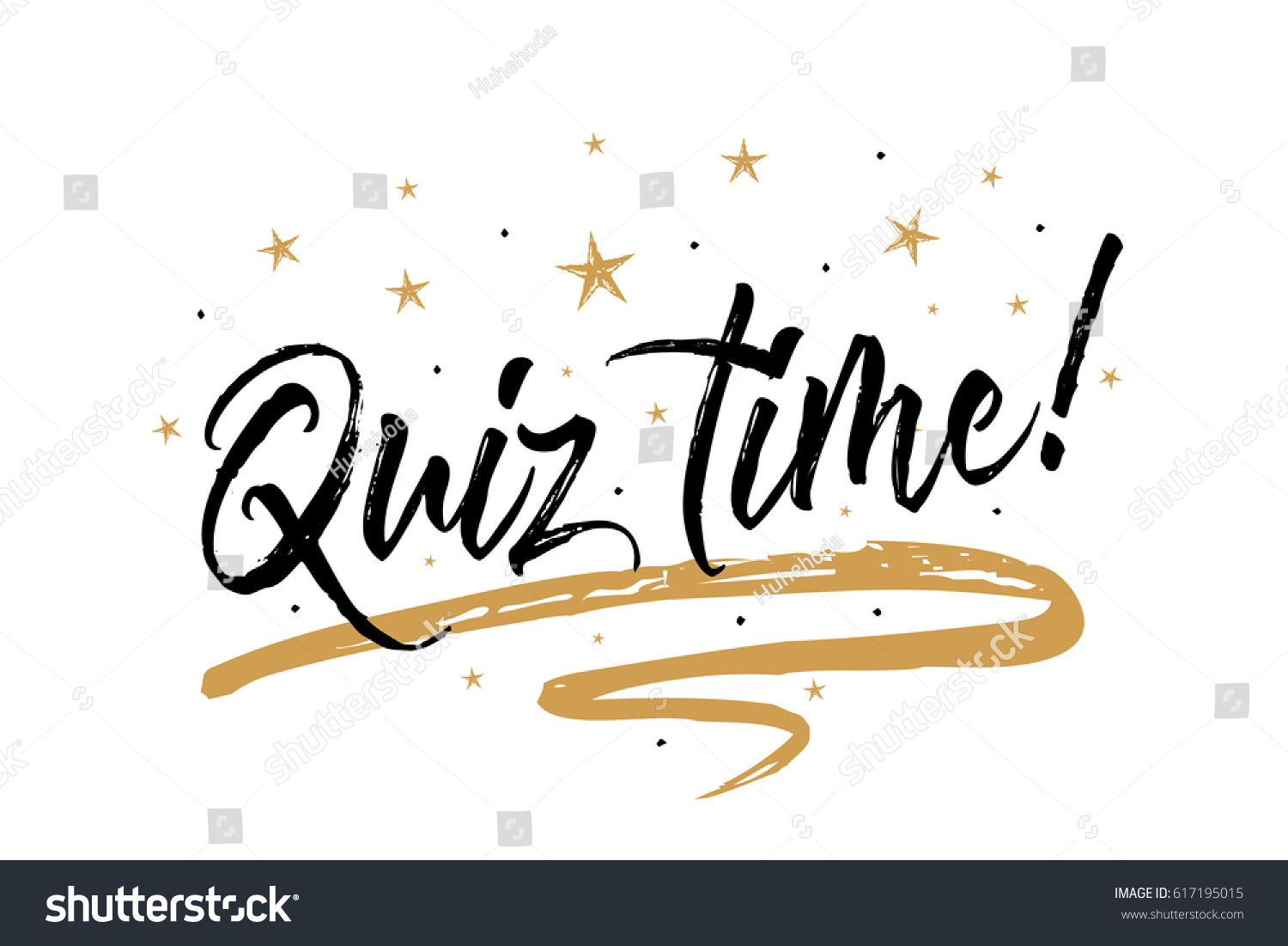 Quiz time card banner beautiful greeting stock vector 617195015 quiz time card banner beautiful greeting scratched calligraphy black text word gold stars stopboris Image collections