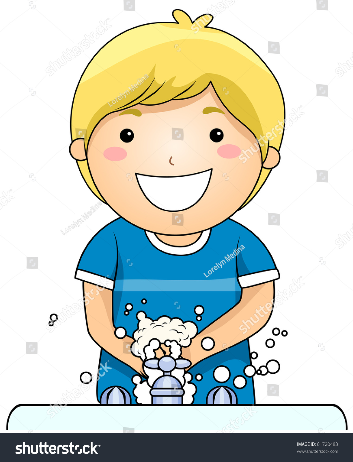 young boy washing his hands vector stock vector 2018 61720483 rh shutterstock com cleaning hands clipart washing hands clipart black and white