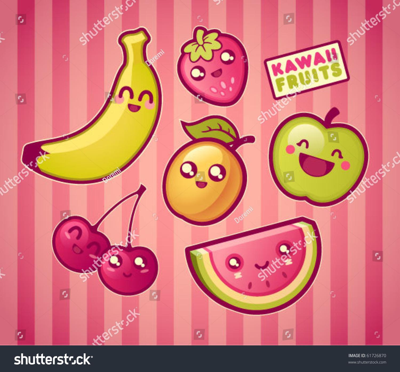 Kawaii Smiling Fruits Ilustración vectorial en stock 61726870  Shutterstock