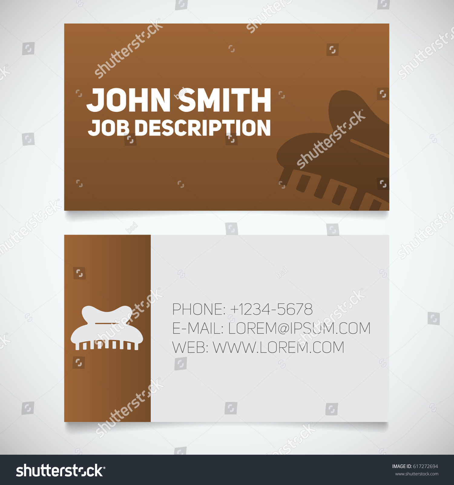 business card print template claw hair stock vector