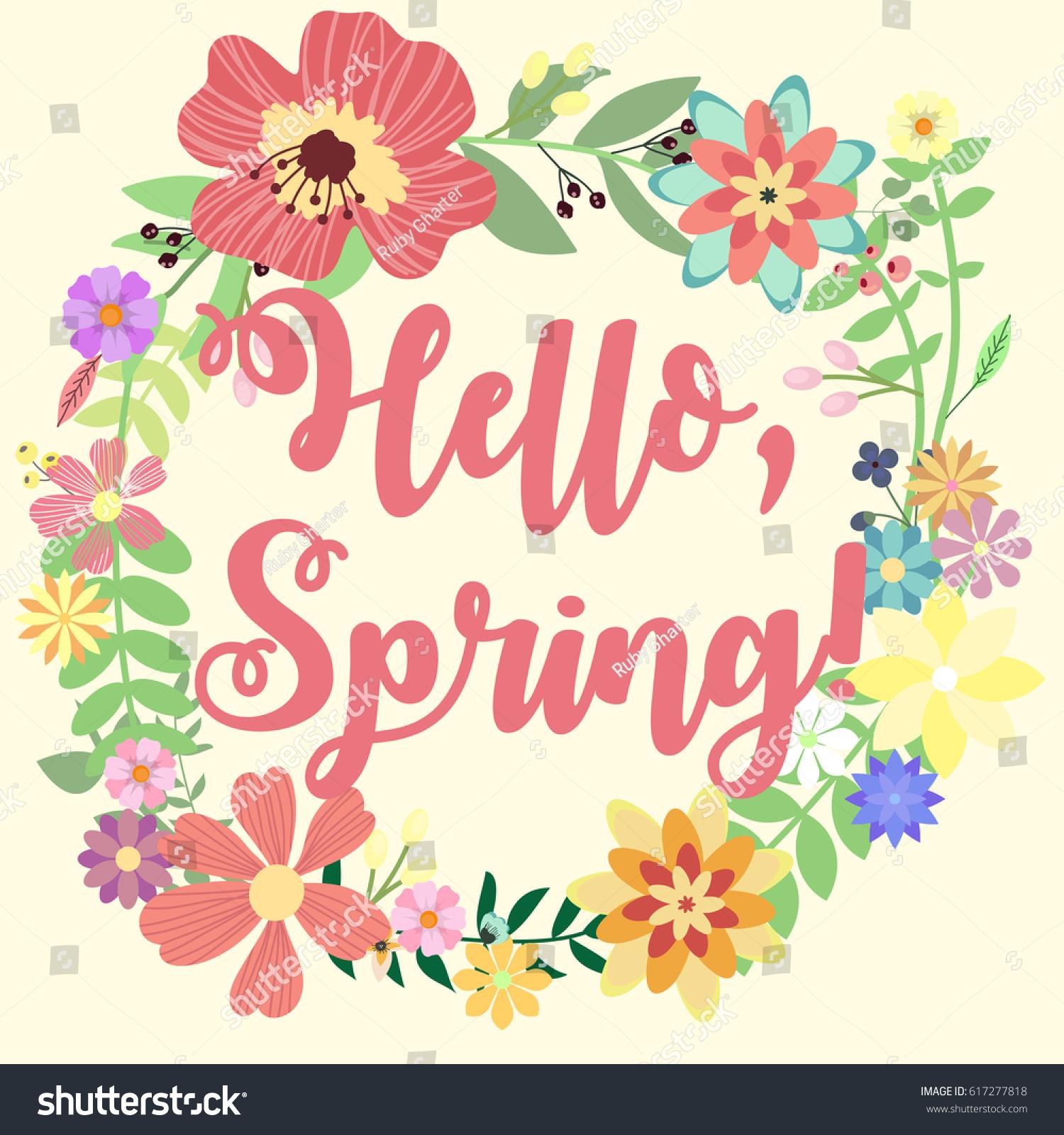 Colorful U0027Hello Springu0027 Vector Card For Flyers, Invitation, Posters,  Brochure,
