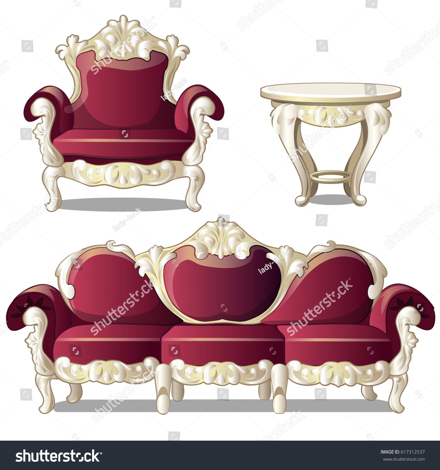 Red Vintage Upholstered Sofa Chair Carved Stock Vector
