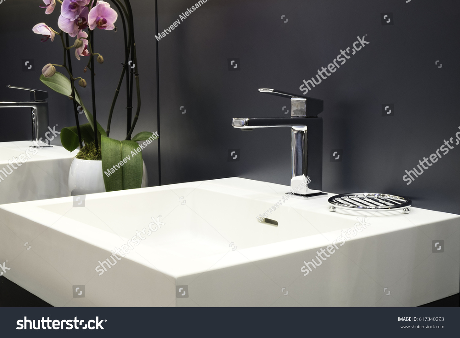 Luxury Faucet Mixer On White Sink Stock Photo (Edit Now) 617340293 ...