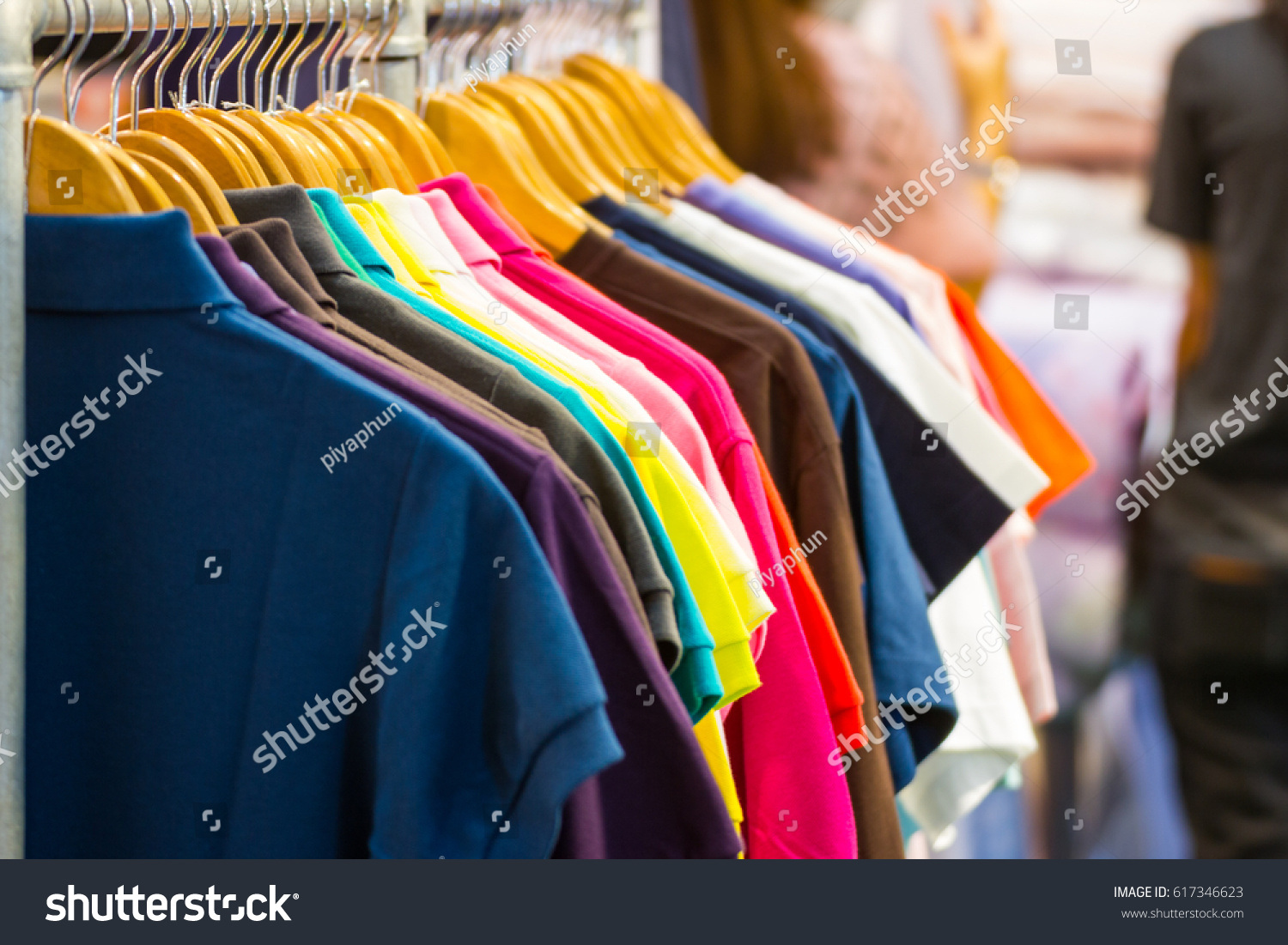 Women Polo Shirts Sale On Hangers Stock Photo Edit Now 617346623
