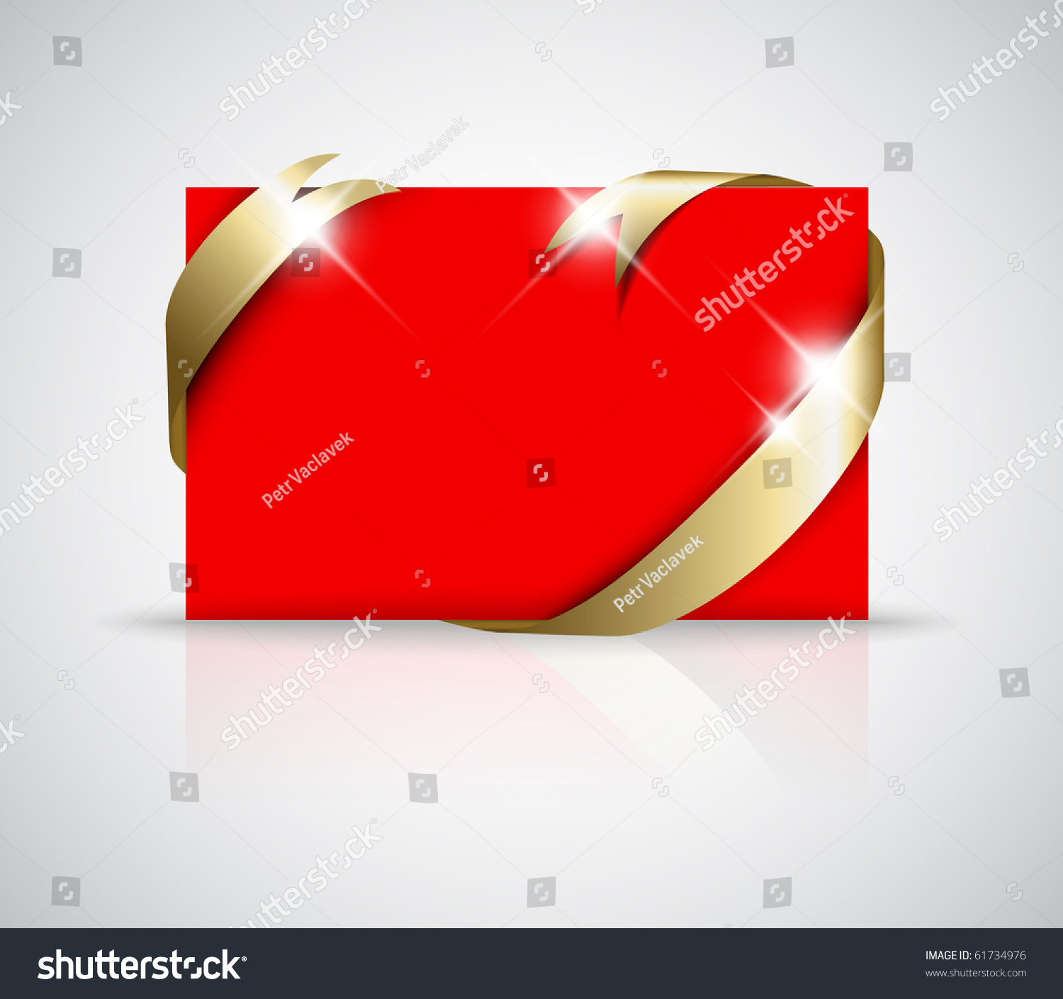 christmas or wedding card golden ribbon around blank red paper save to a lightbox