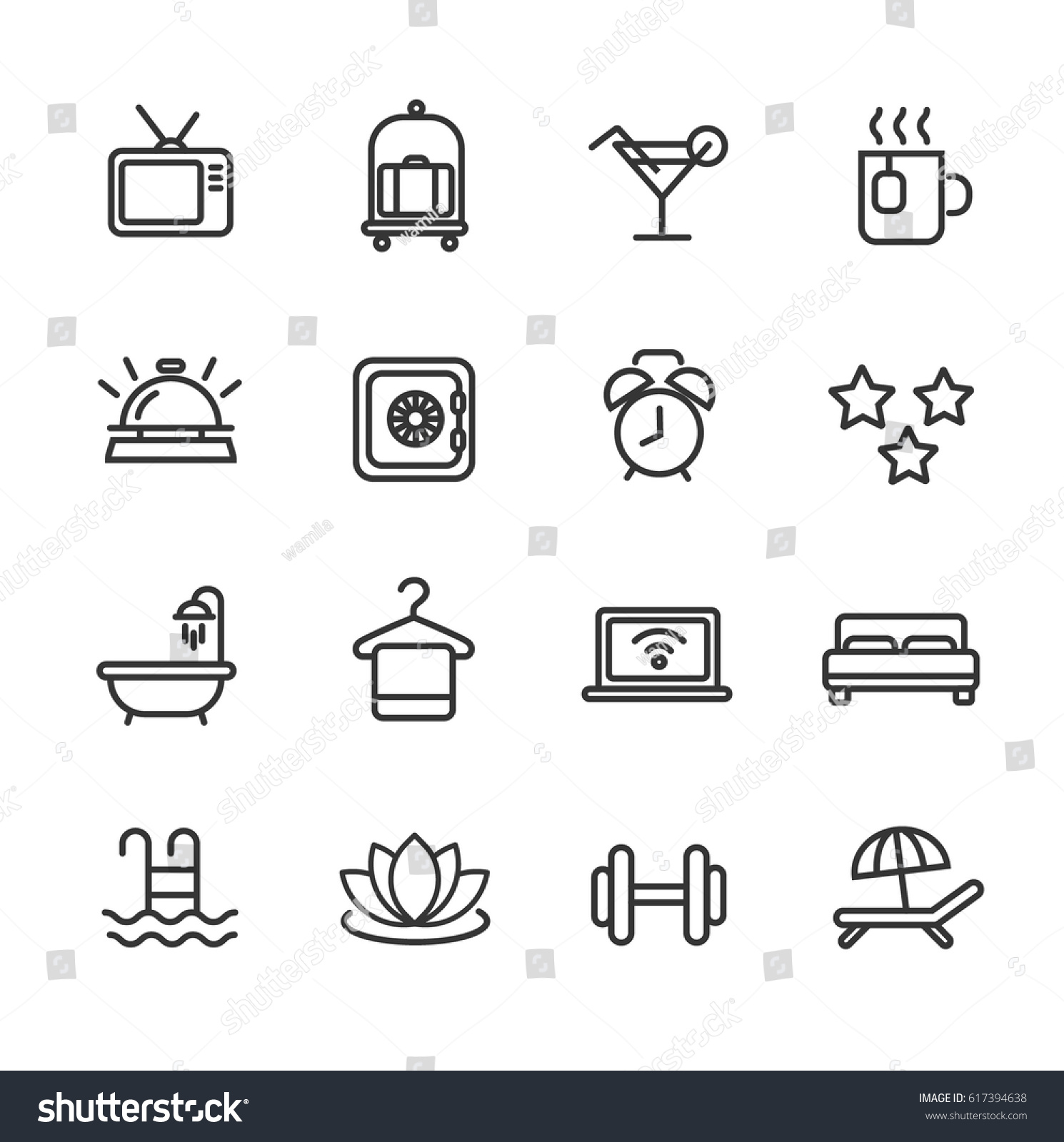 Hotel Services Line Icon Set Stock Vector Royalty Free 617394638 Telephone Wiring Diagram