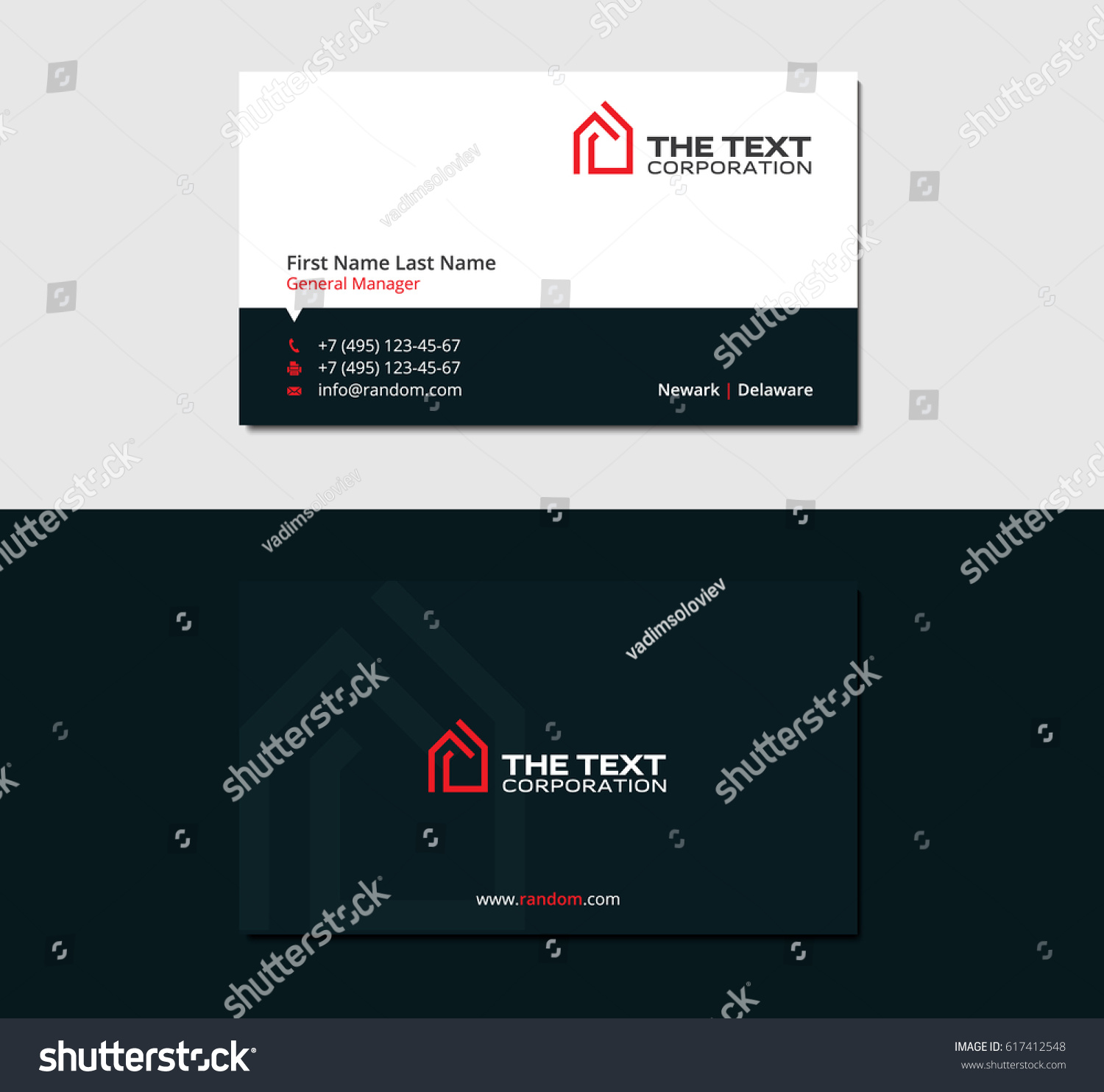 Dark business card real estate agency stock vector 617412548 dark business card for real estate agency with red logo of house magicingreecefo Image collections