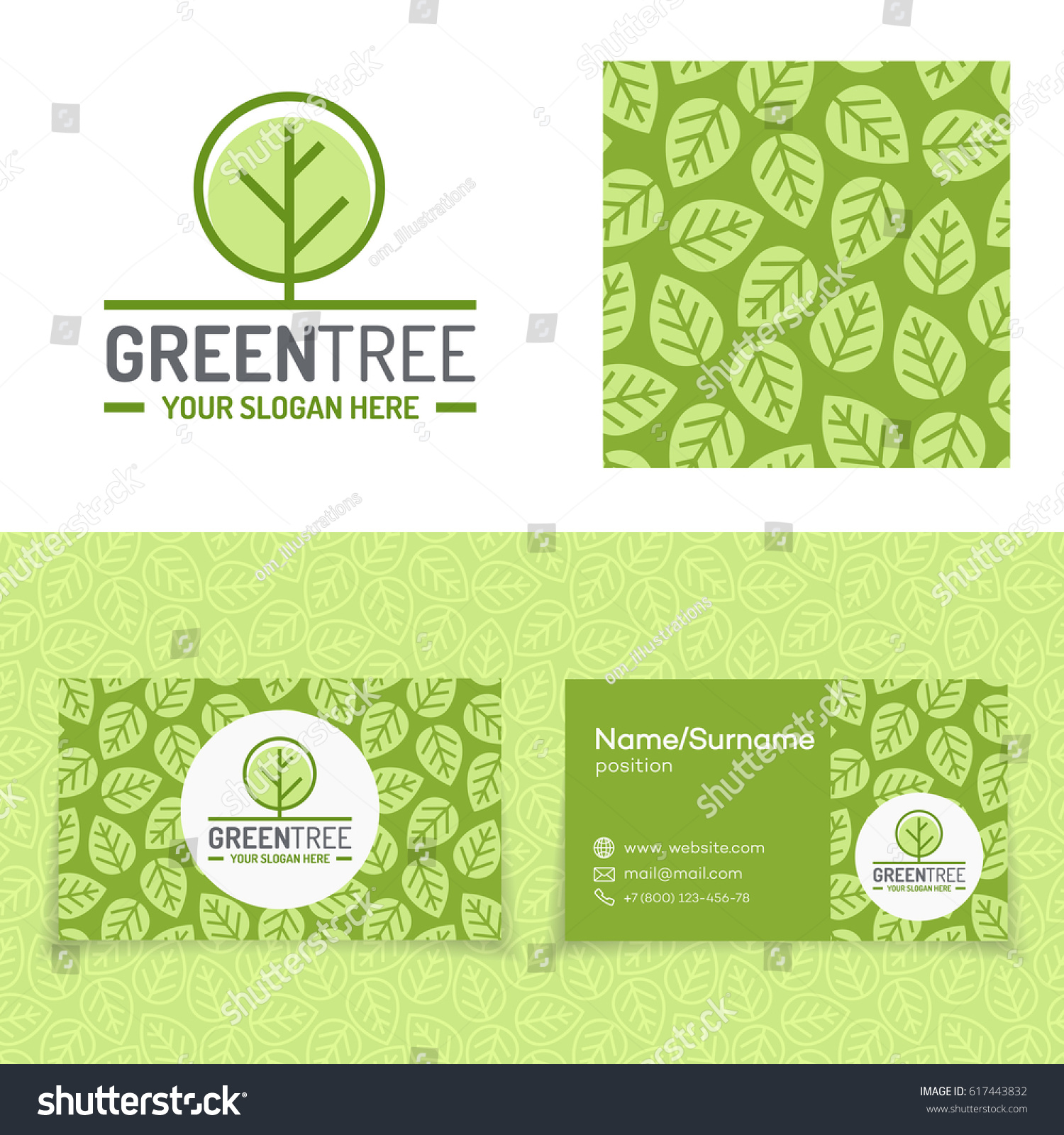 Green tree logo set consisting emblem stock vector 617443832 green tree logo set consisting of emblem leaves pattern and business card for nature firm magicingreecefo Choice Image