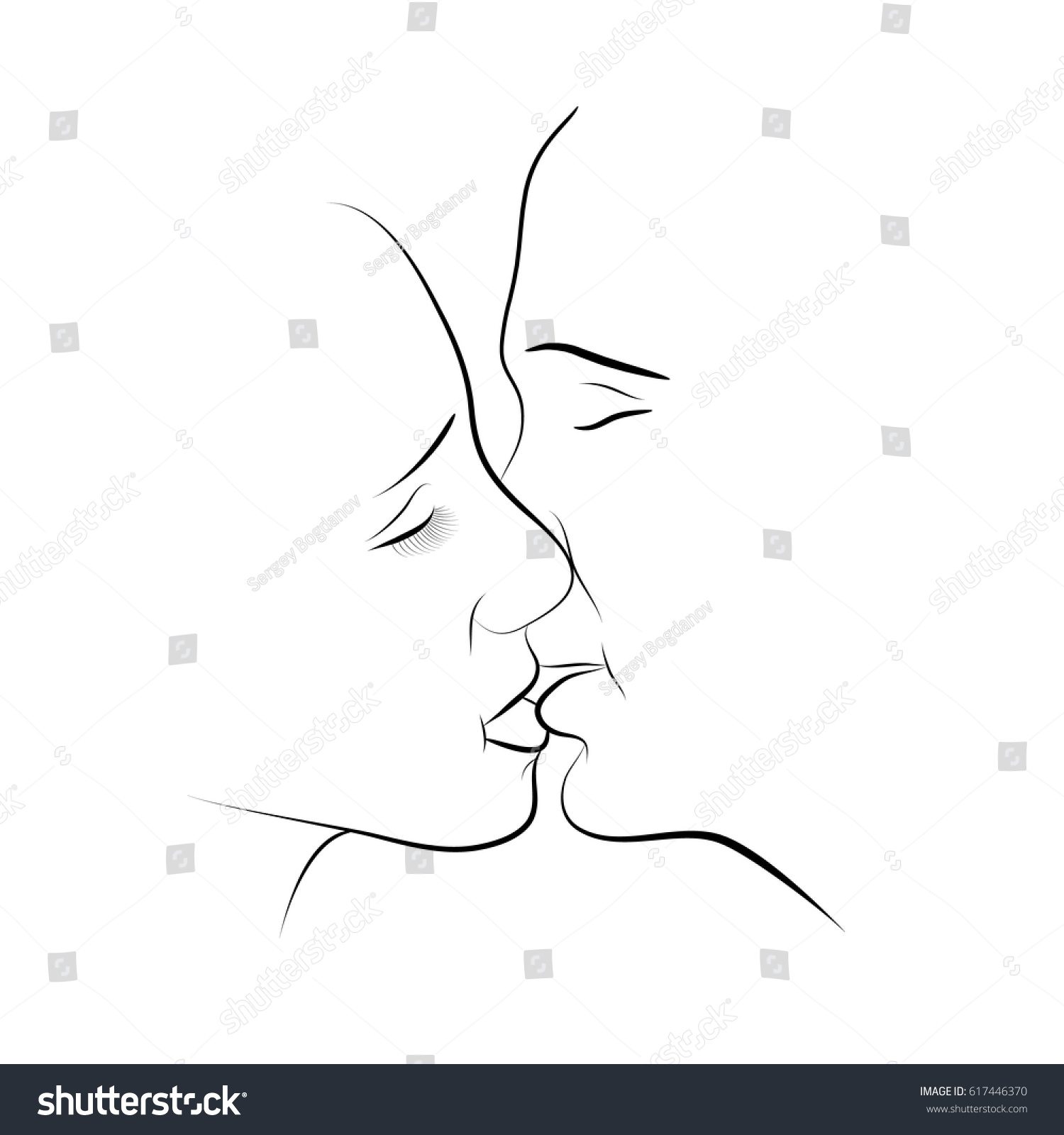 Pencil sketch of loving couple lovers kiss line drawing vector illustration