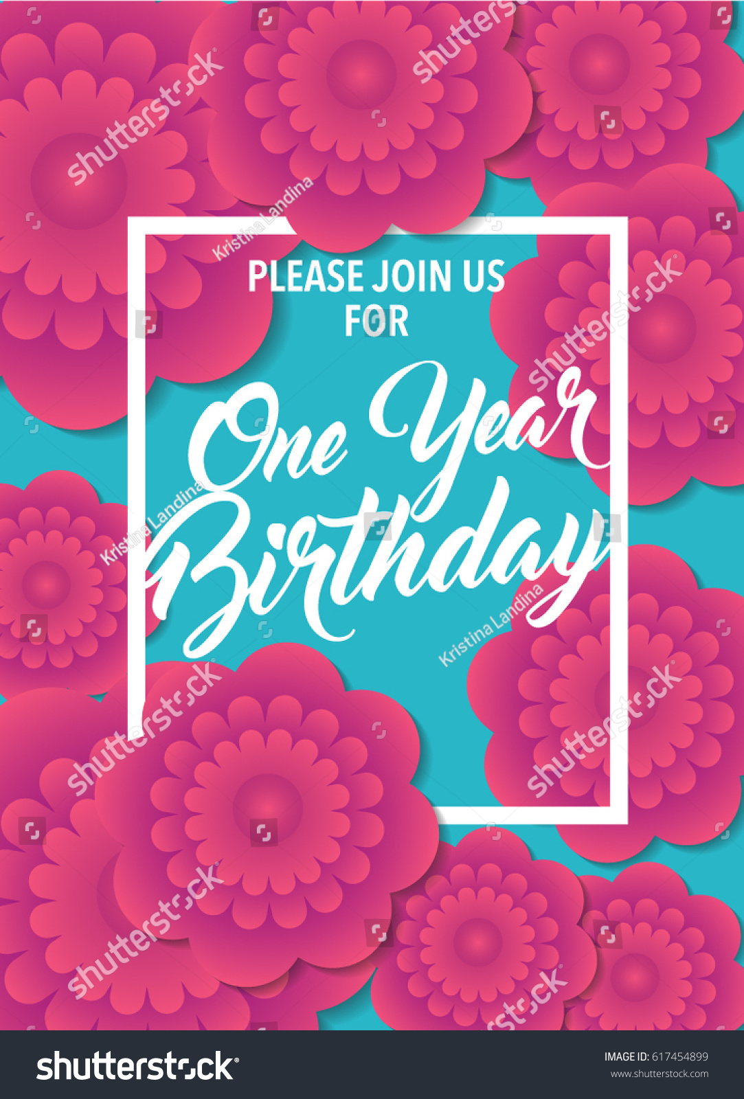 Baby First Birthday Card One Year Vector 617454899 – Baby First Birthday Card