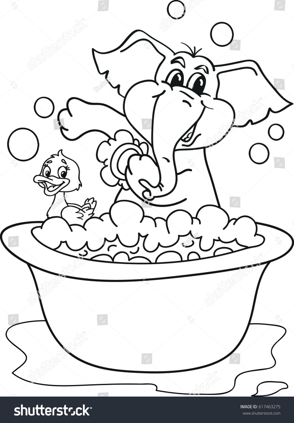coloring page outline cartoon baby elephant stock vector 617463275