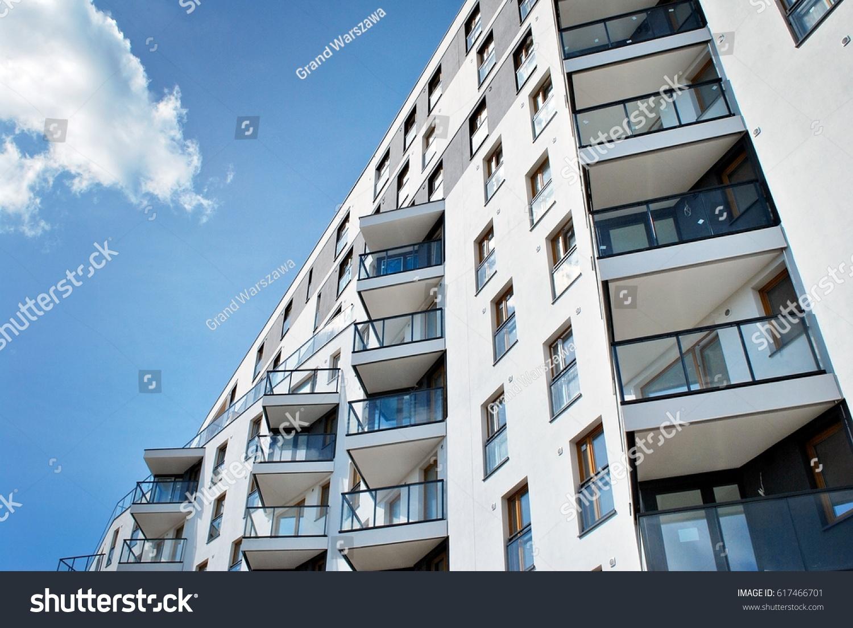 modern luxury apartment building stock photo 617466701. Black Bedroom Furniture Sets. Home Design Ideas
