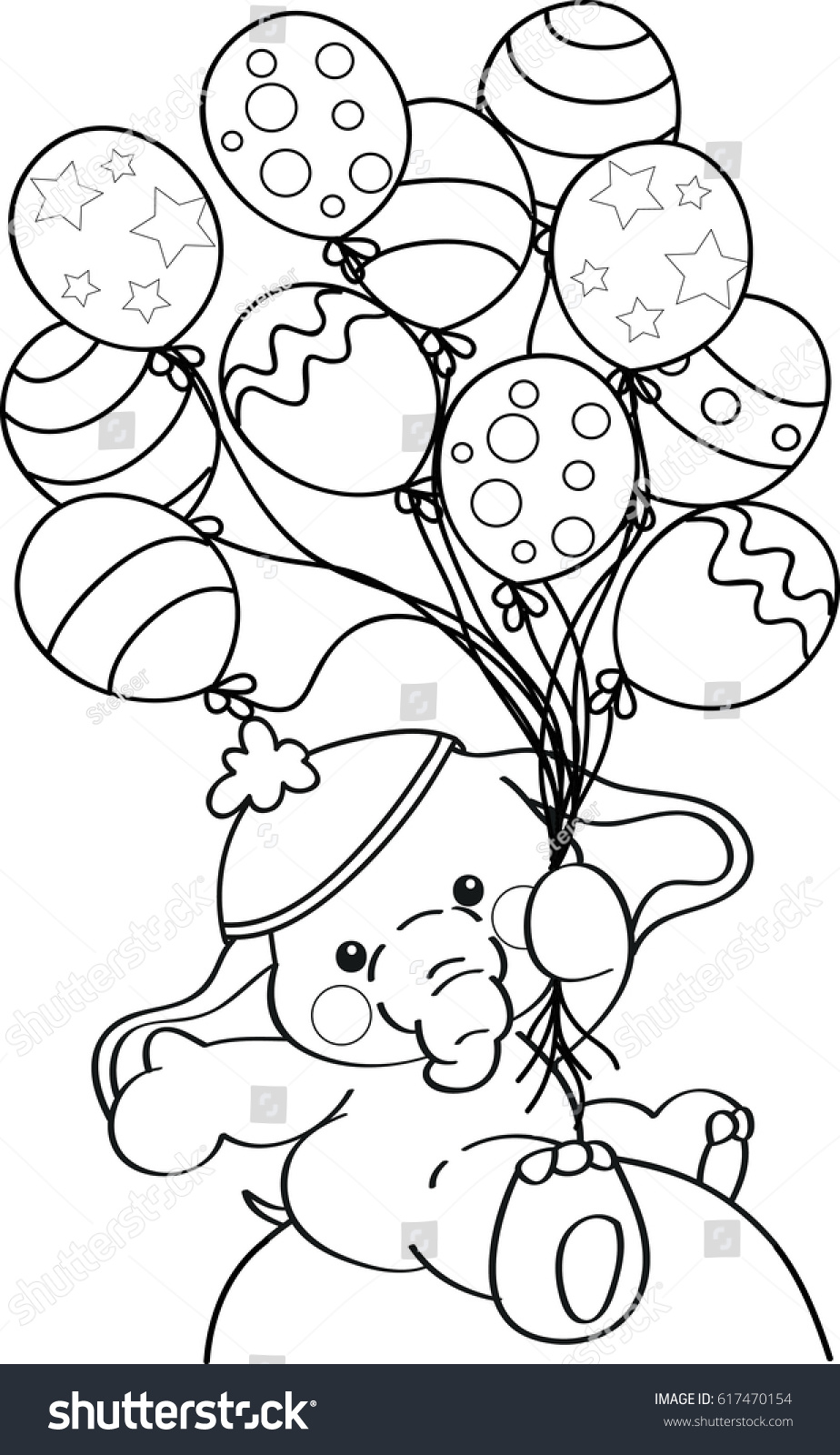 Coloring Page Outline Cartoon Baby Elephant Stock Vector 617470154 ...