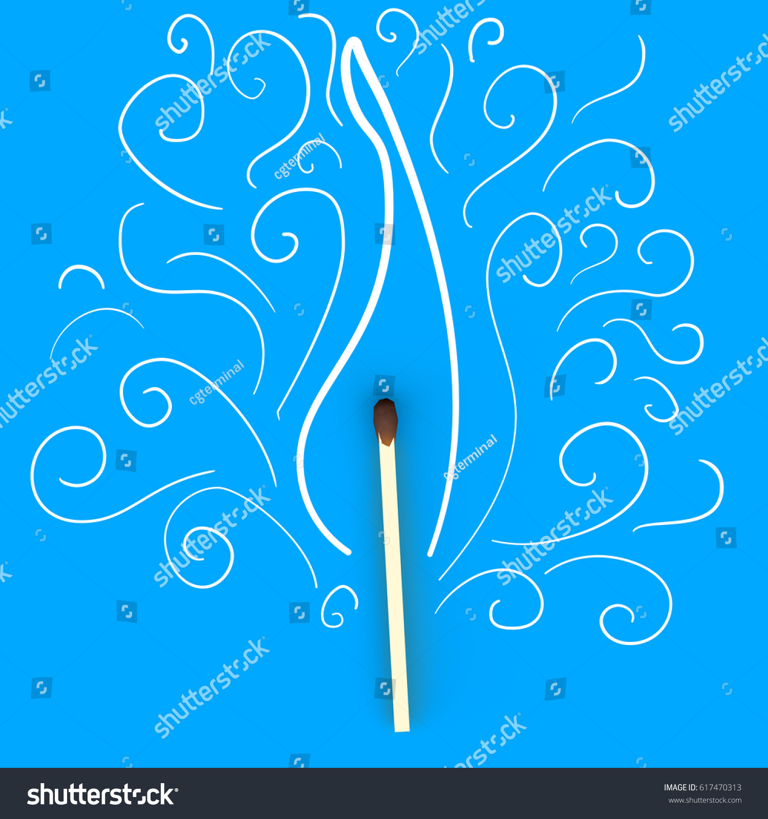 Wooden Match Hand Drawn Painted Doodle Stock Illustration