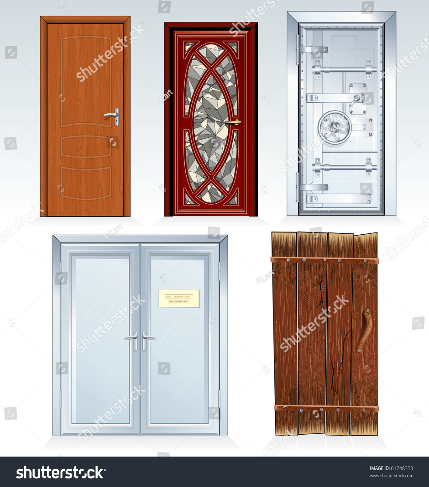 Doors Collection classic bank vault doorwooden door church front door office  sc 1 st  Shutterstock & Doors Collection Classic Bank Vault Doorwooden Stock Vector ... pezcame.com