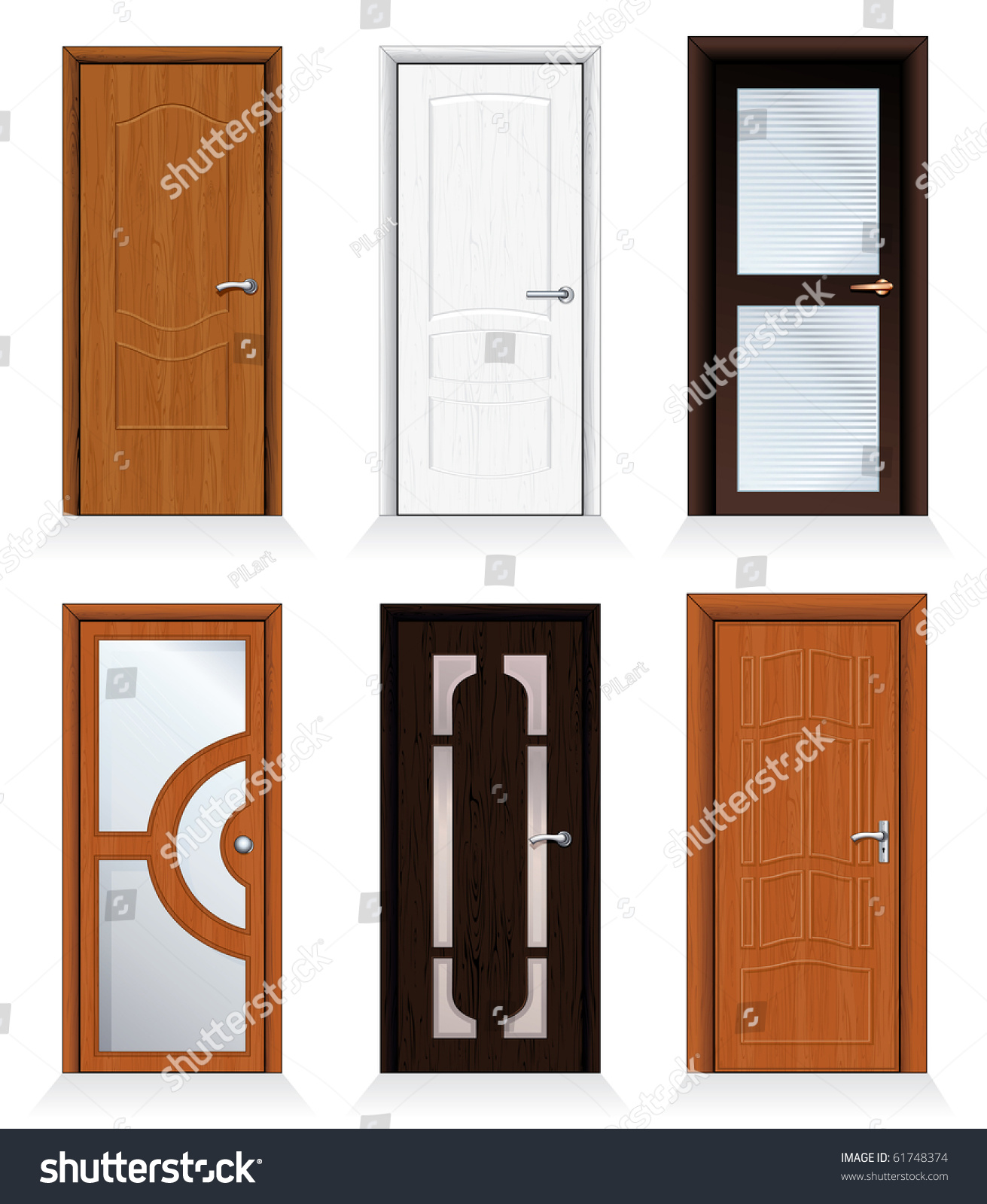 Classic Interior And Front Wooden Doors Detailed Realistic Vector For Your Design To