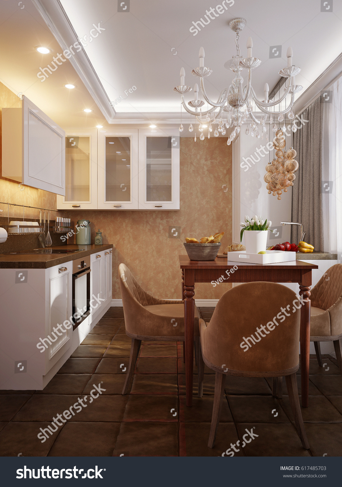 Modern kitchen interior design white facades stock illustration modern kitchen interior design with white facades dark brown tile floor and dining area dailygadgetfo Image collections