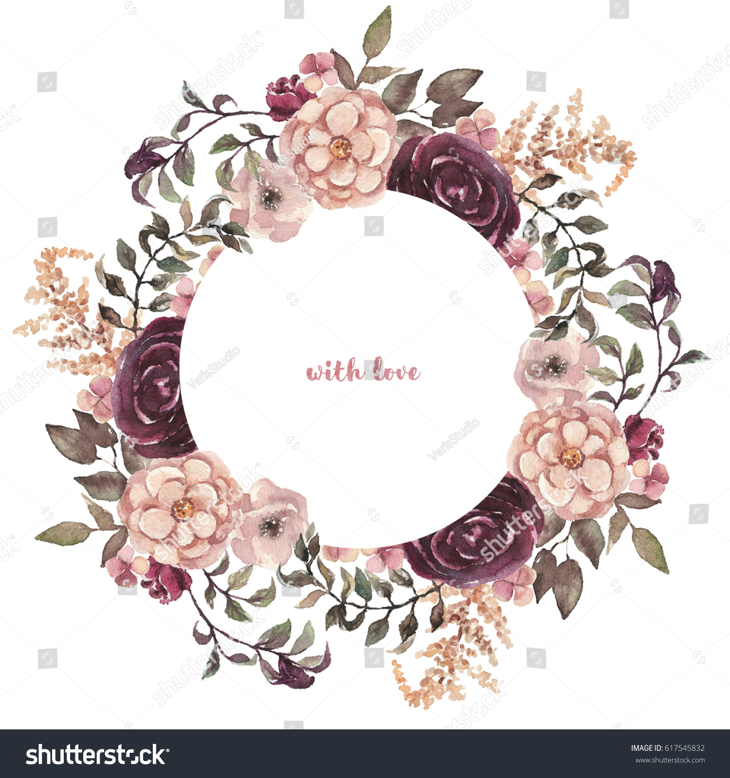 Watercolor Floral Illustration Flower Round Wreath Stock ...
