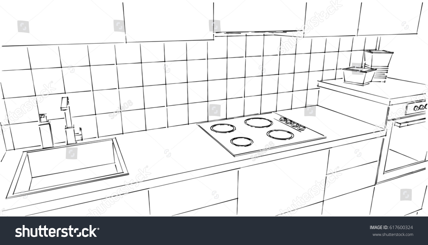 kitchen counter close up. Kitchen Counter Close Up. Black And White Line Drawing, Top Perspective View. Up