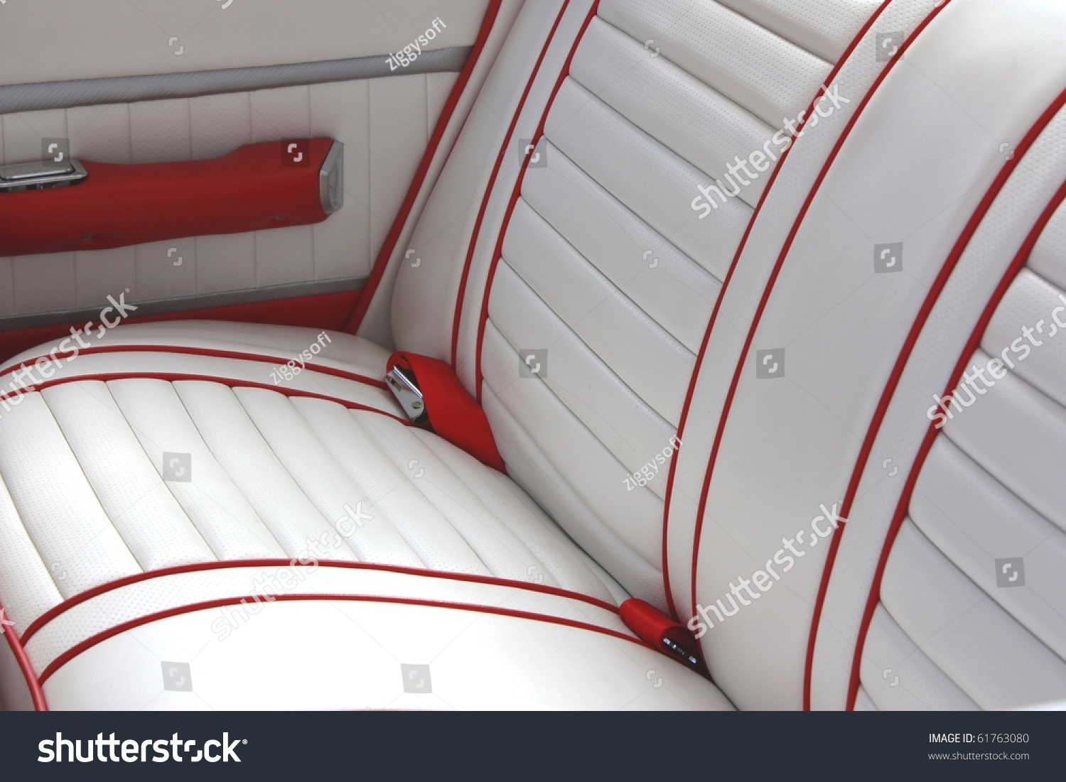 red and white leather car interior stock photo 61763080 shutterstock. Black Bedroom Furniture Sets. Home Design Ideas