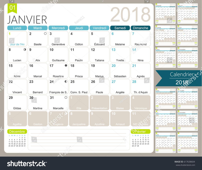french calendar 2018 set 12 months stock vector 617638604. Black Bedroom Furniture Sets. Home Design Ideas