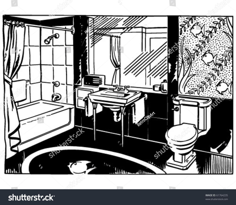 bathroom 2 retro clip art stock vector 61764235 shutterstock. Black Bedroom Furniture Sets. Home Design Ideas
