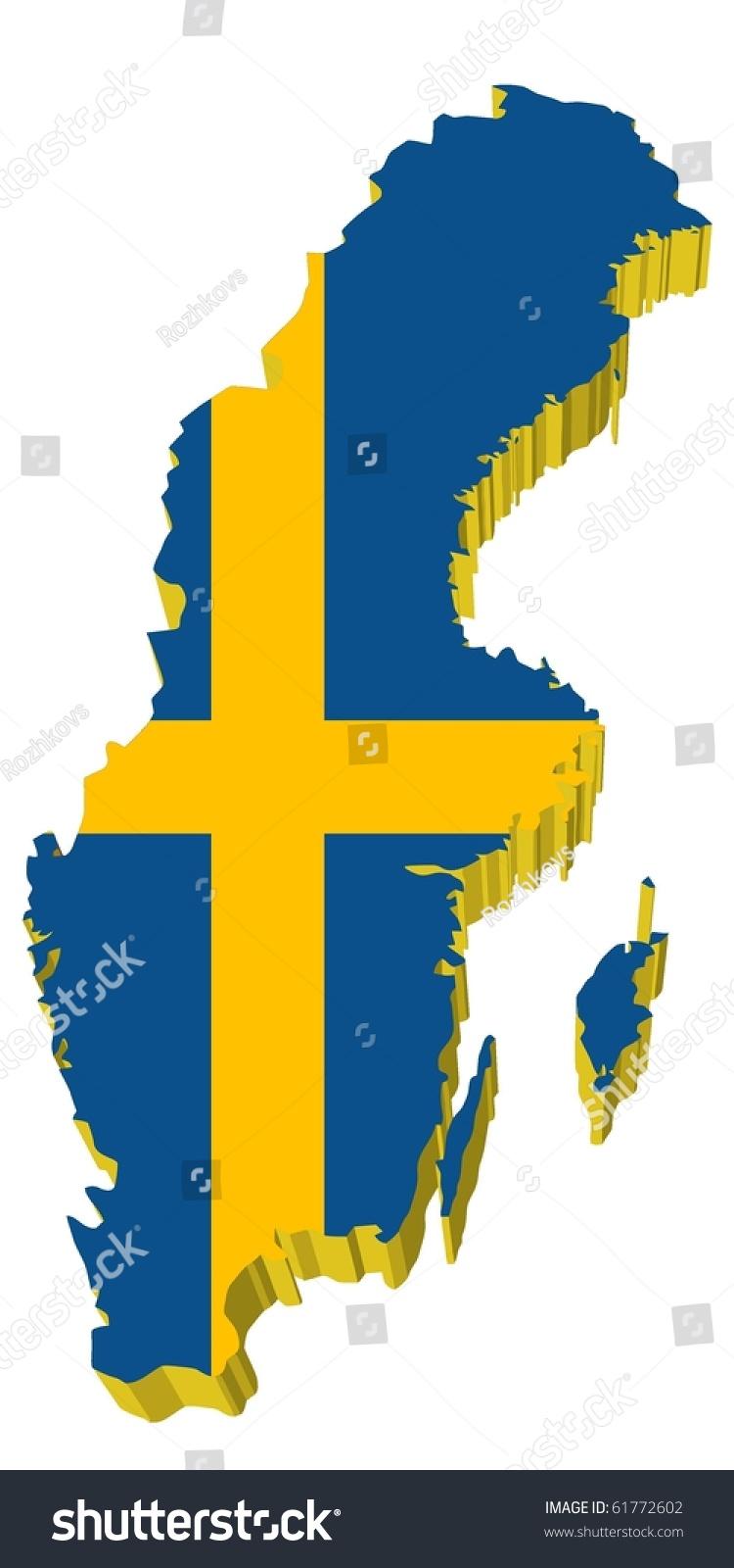 Vectors D Map Sweden Stock Vector Shutterstock - Sweden map 3d