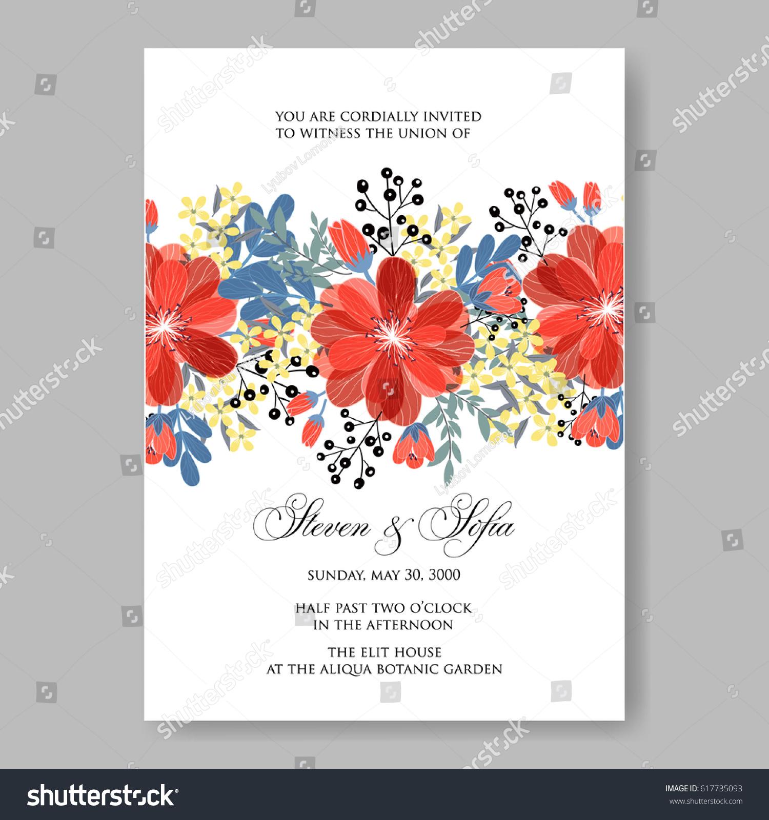 Wedding Invitation Card Template Red Dahlia Stock Vector (Royalty ...