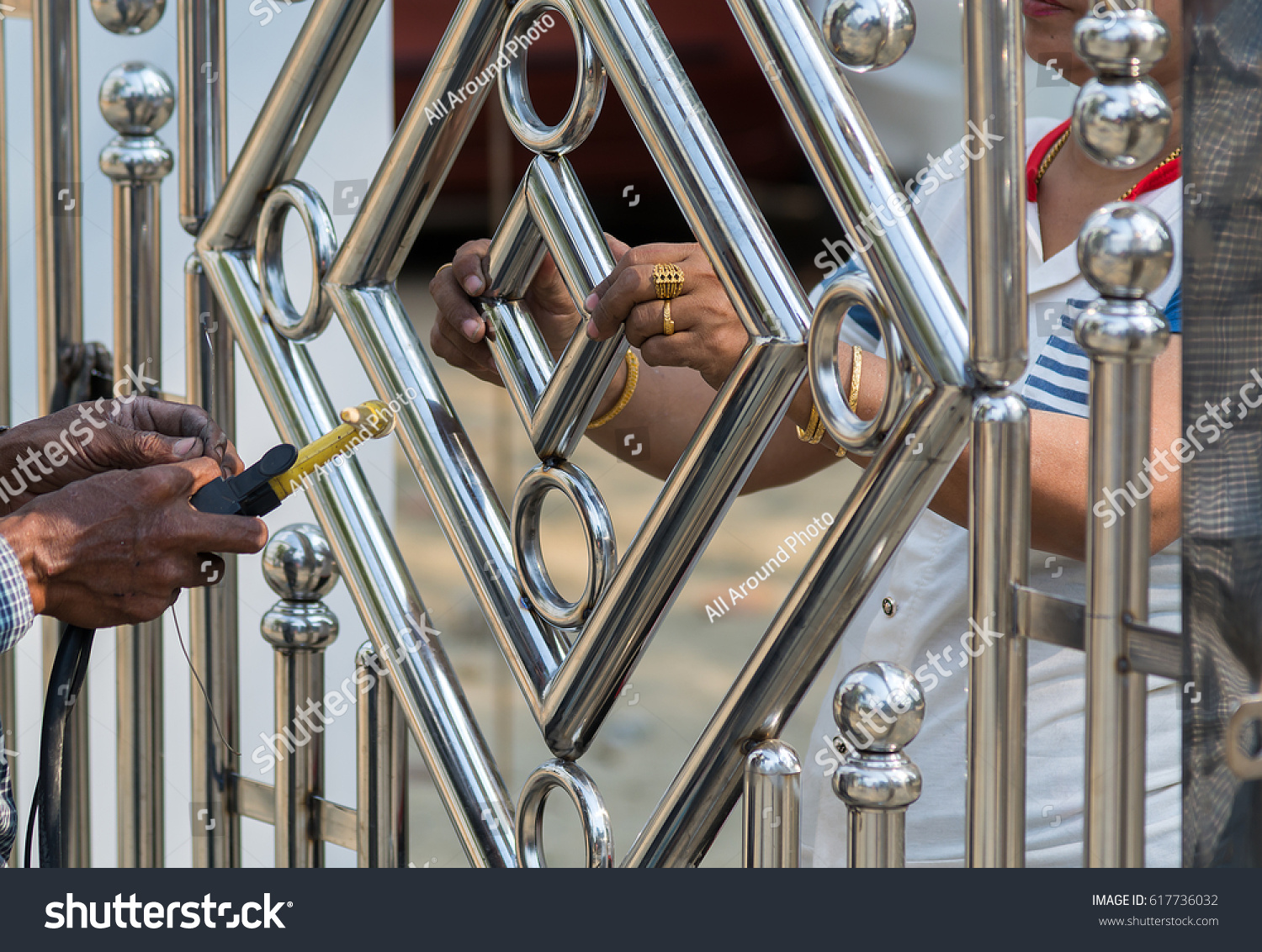 Metal Fashion Fence Stainless Steel Gate Stock Photo (Edit Now ...