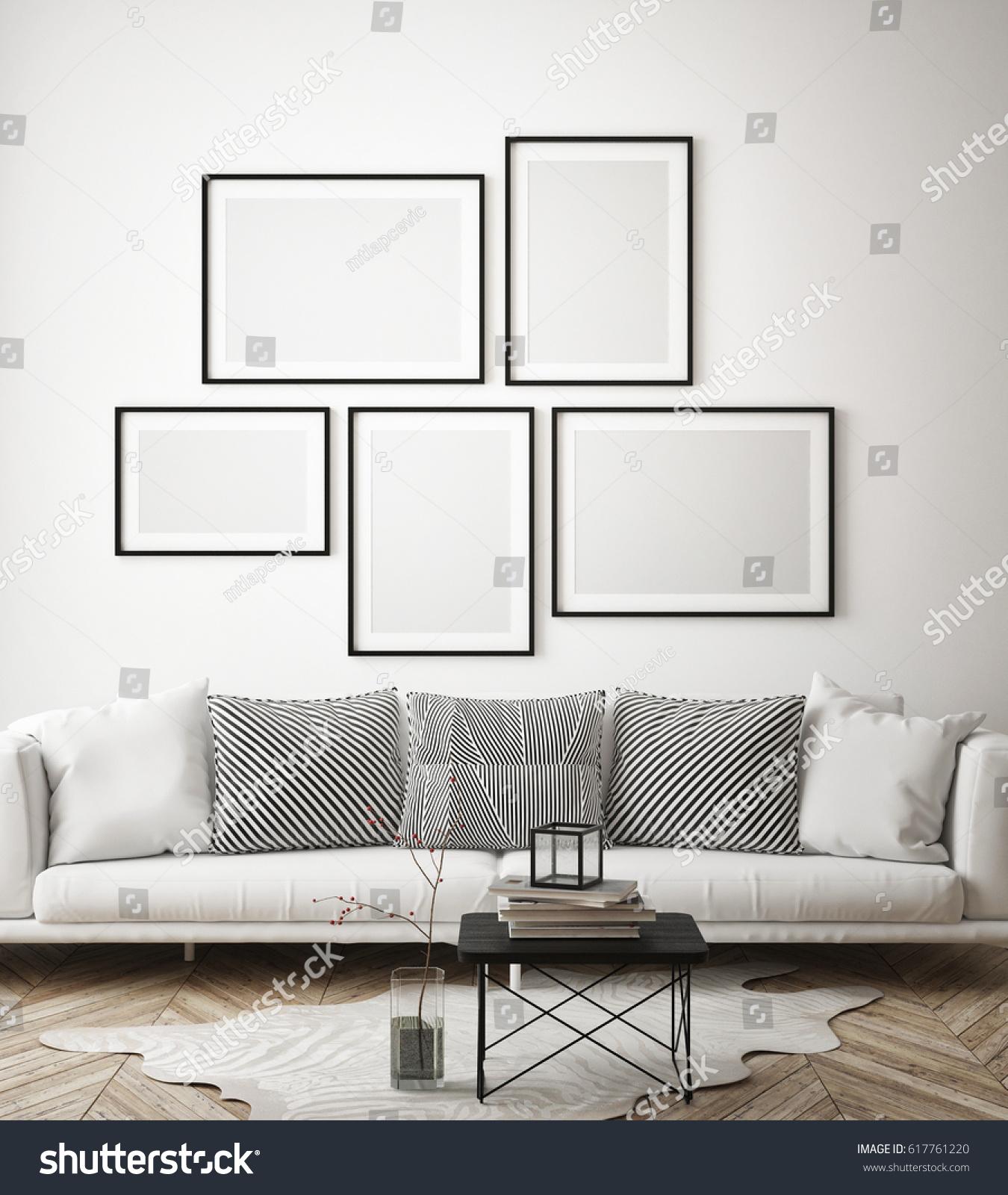 Mock Poster Frames Hipster Interior Background Stock Illustration ...