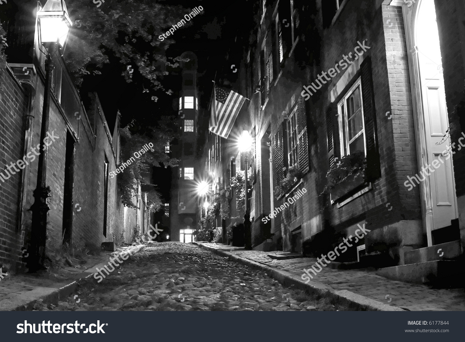 Victorian night lamps - B W Night Image Of An Old 19th Century Cobble Stone Road In Boston Massachusetts