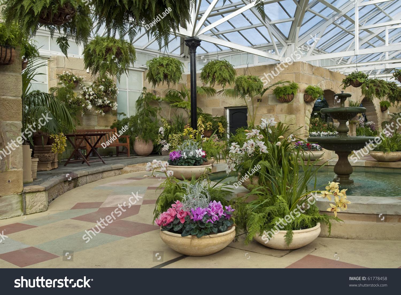 Cyclamen pots indoor garden room stock photo 61778458 for Inside garden room
