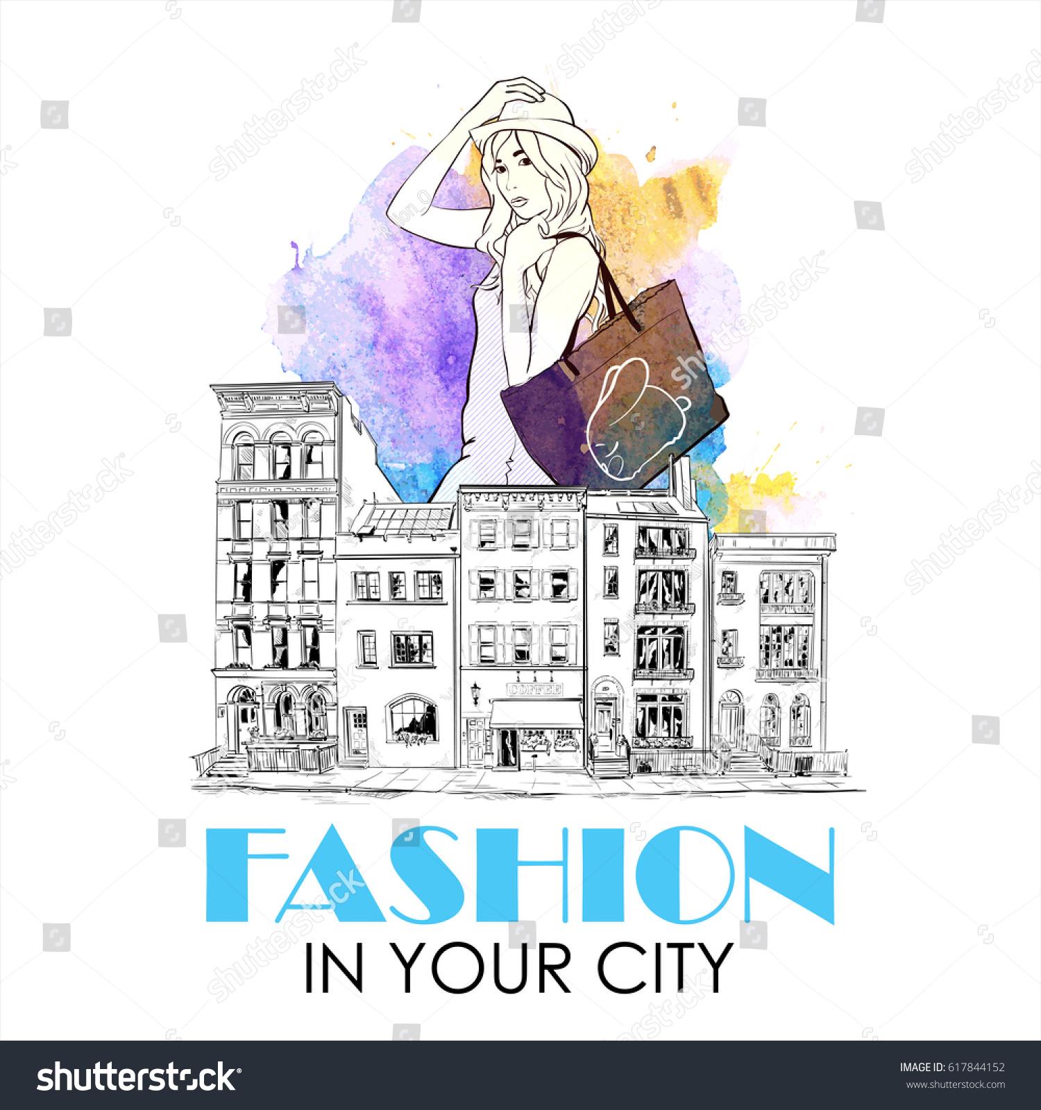 Fashion Poster Pretty Girl City Watercolor Stock Vector