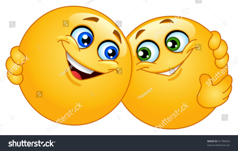 Hugging Emoticons Stock Vector Royalty Free 61786924 Shutterstock