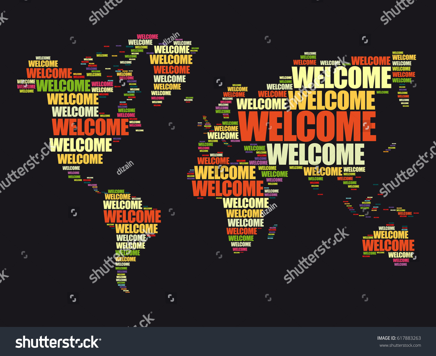 Welcome world map typography word cloud vectores en stock 617883263 welcome world map in typography word cloud business conceptual background gumiabroncs Choice Image