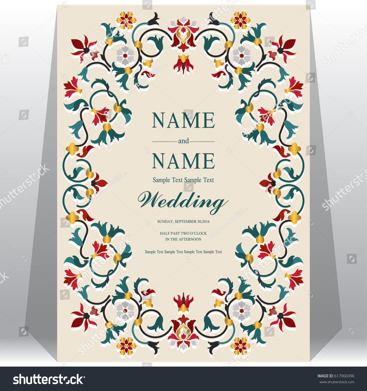 Indian Wedding Invitation Card Templates Taj Stock Vector 617900396 ...