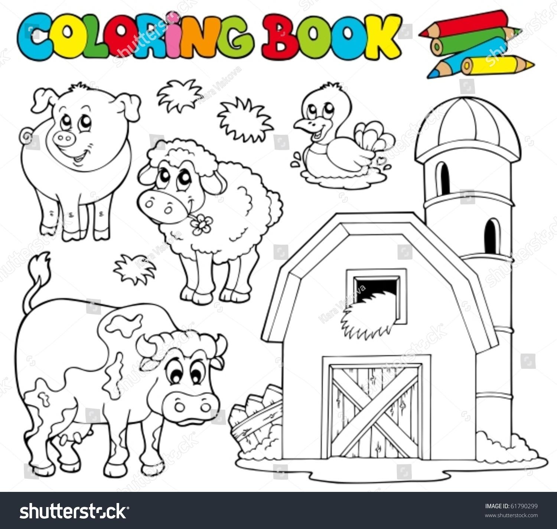 Coloring Book Farm Animals 1 Vector Stock Vector