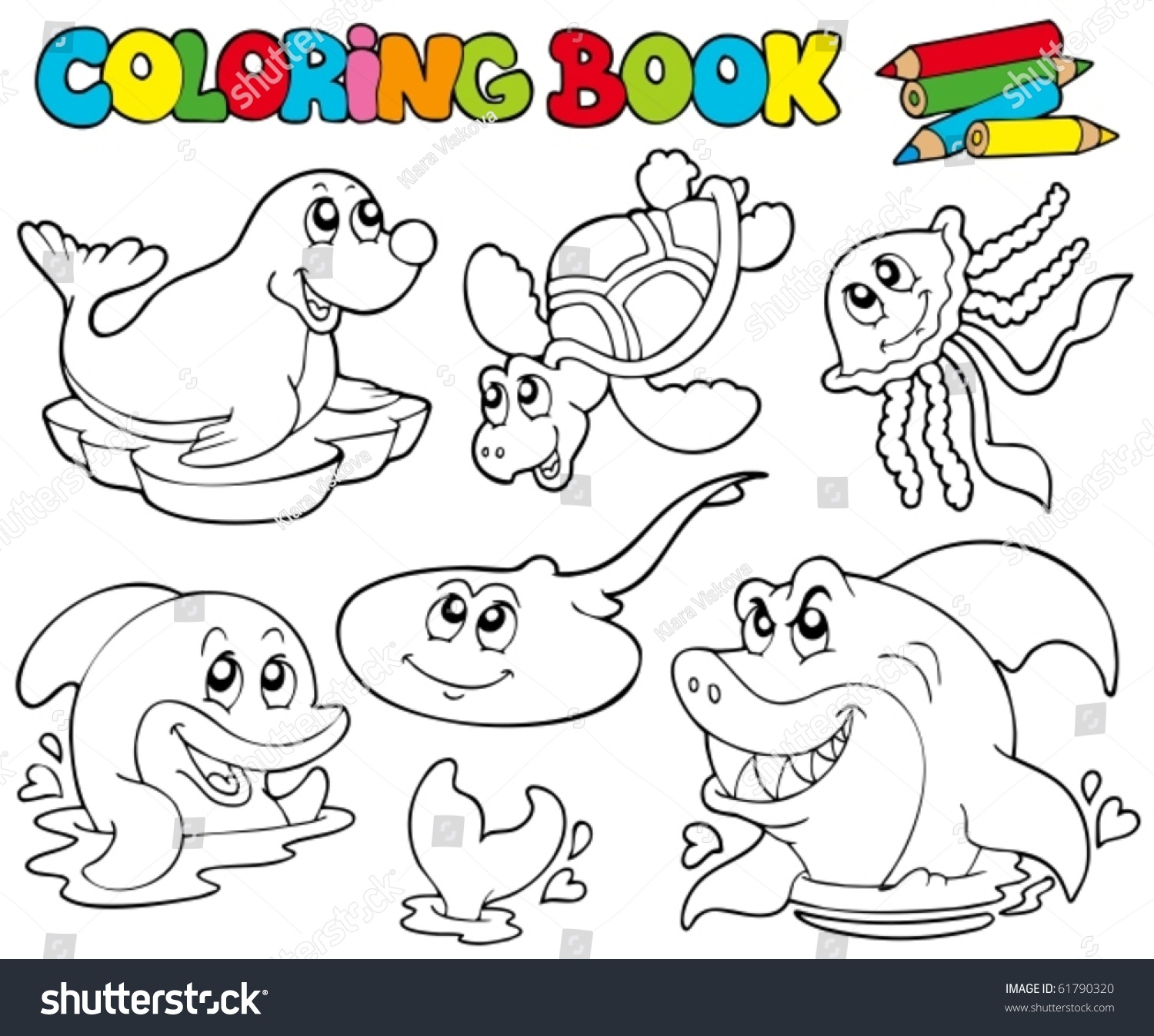 - Coloring Book Marine Animals 1 Vector Stock Vector (Royalty Free