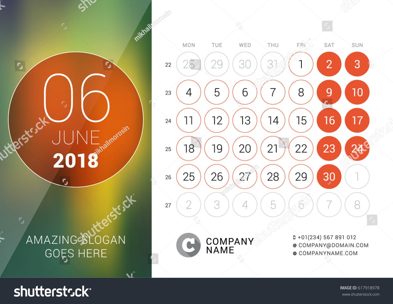 june 2018 desk calendar 2018 year stock vector royalty free