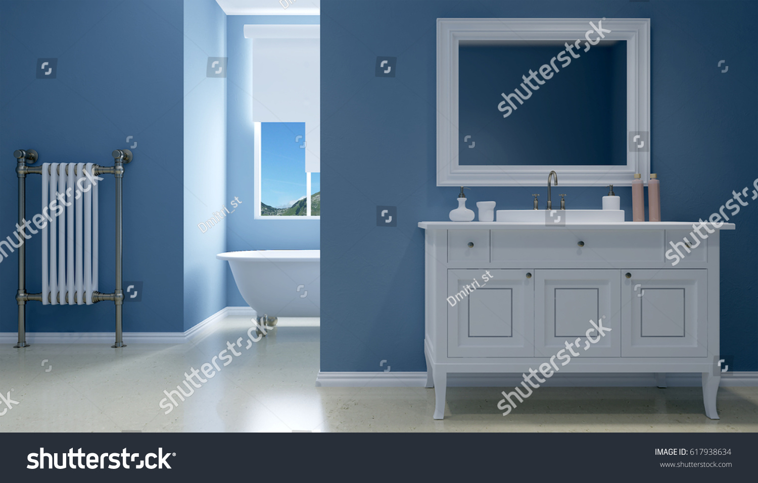 Freestanding Bath Modern Bathroom 3 D Rendering Stock Illustration ...