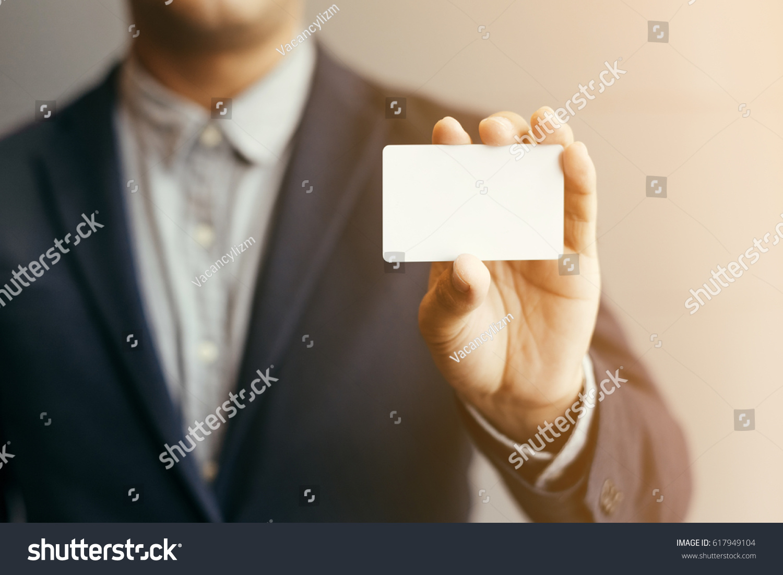Man Holding White Business Cardman Wearing Stock Photo 617949104 ...