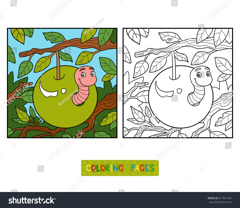 Coloring Book Children Worm Apple Stock Vector 617951591 - Shutterstock